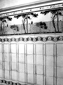 f r die wandfl che kamen im jugendstil normalerweise einfarbige platten zur anwendung. Black Bedroom Furniture Sets. Home Design Ideas